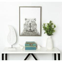 Kate and Laurel Sylvie Bear Framed Canvas Wall Art by Simon