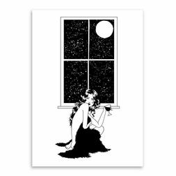 The Lonely Girl Under The Stars Moon Canvas Painting Poster