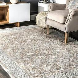 traditional vintage faded circle frame area rug