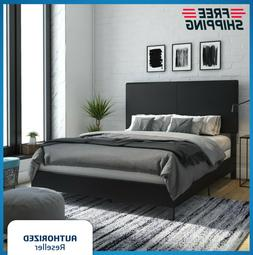 Twin Full Queen King Size Faux Leather Platform Bed Frame Up