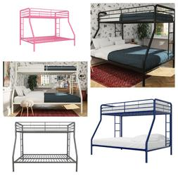 Twin Over Full Metal Bunk Bed Frame, Multiple Colors