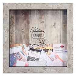 Lawrence Frames Weathered Birch Shadow Box Ticket Holder, 10