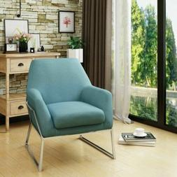 Zach Modern Stainless Steel Frame Fabric Accent Chair